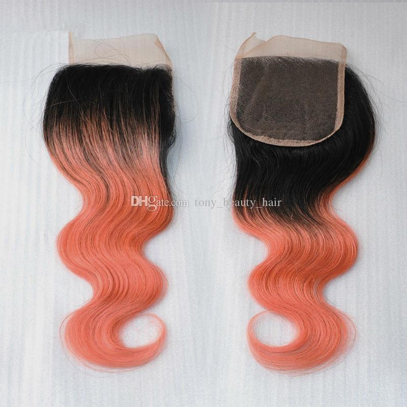 Peruvian 1B Rose-Gold Ombre Body Wave Virgin Hair Weave With 4*4 Closure,Rose Gold Two Tone Human Hair Hundles With Lace Closure