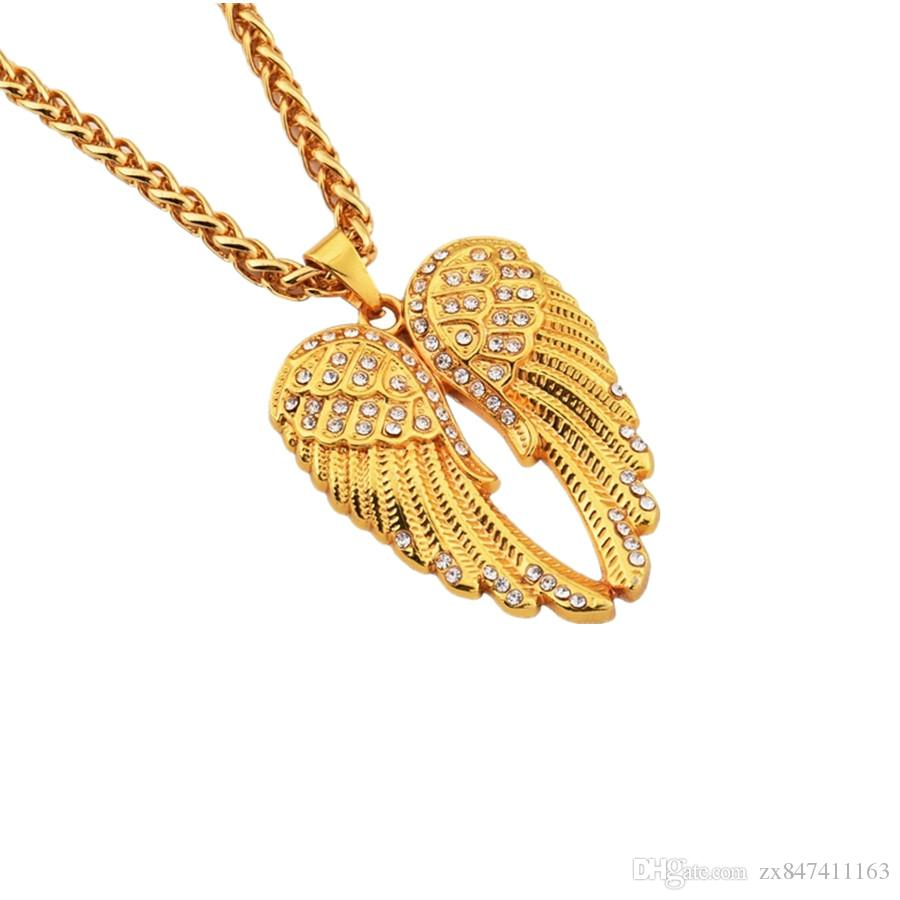 angel gold dipped model wings a dogeared chain charm necklace on shown guardian pendant