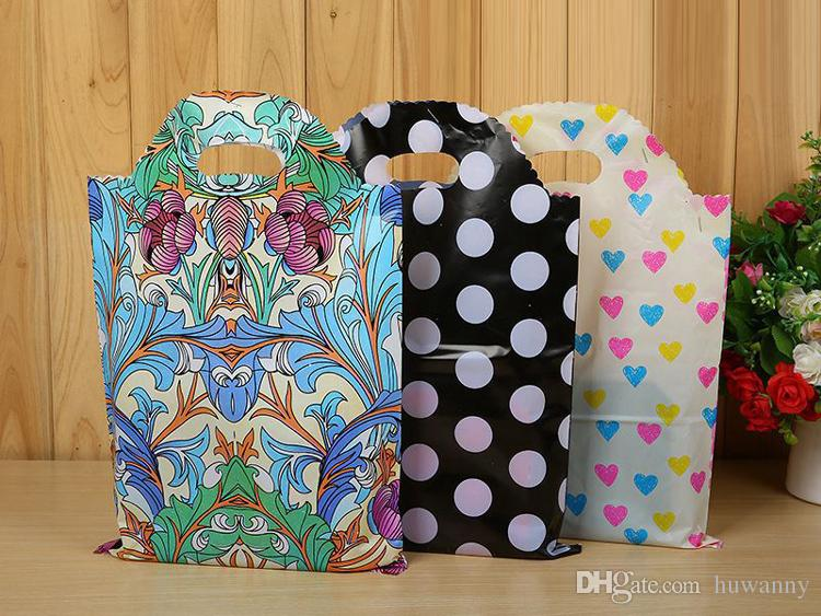 20*25 25*40 Plastic Gift Bags Thicher PVC Colorful Clothing Shopping Pouches Bags Packaging 30*45 35*50 40*55 Wholesale Free Ship - 0031Pack
