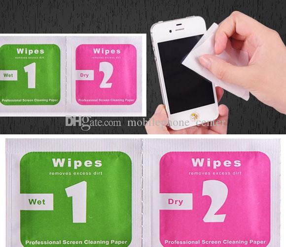 Dry Wipes+Wet Wipes+Dust Absorber Sticker Cleaning Cloth For Tempered Glass Screen Protector Tablet Camera LCD new