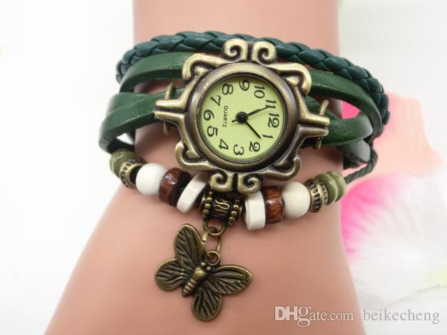 Großverkauf / mischen Kuh-Lederfrauen Uhr-Lederblatt Schmetterlings-Uhren LP011