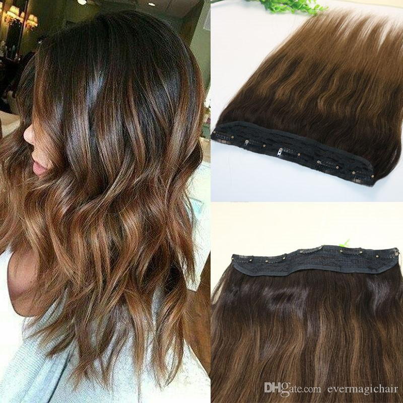 One Piece Clip In Human Hair Extensions 5clips Piece Brazilian