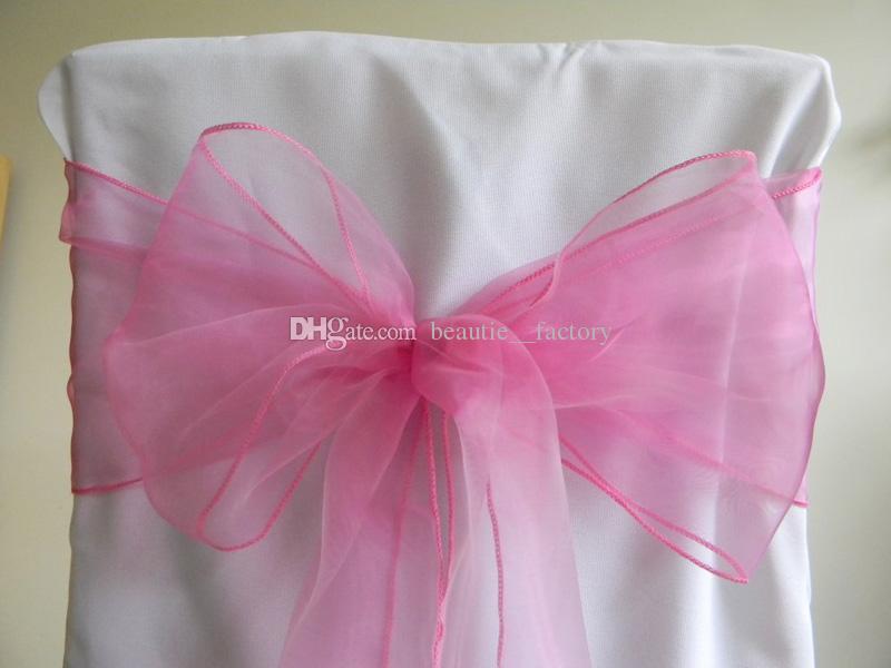 Pink Organza Sashes cubierta de la silla arco banquete banquete banquete brillante Sash alta calidad Multi colores