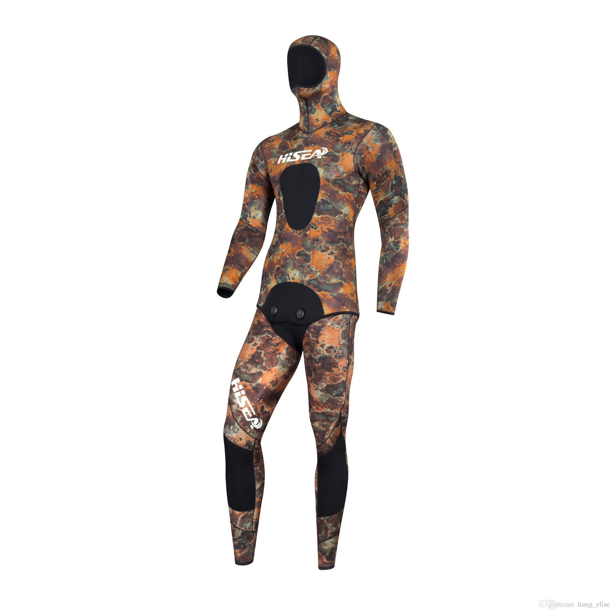 Hochwertige schwarz 3.5mm Tarnung professionelle getrennte Tauchen Wetsuit Männer Spearfiishing Anzüge Surf Tauchausrüstung