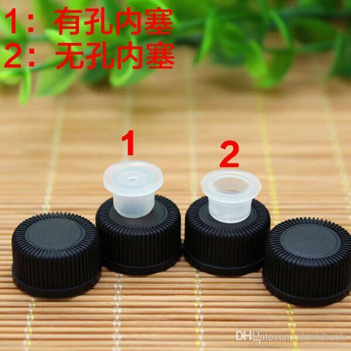 I più popolari Drak Ambra 1/4 Dram 1ML Ambra Piccolo vetro Fiala bottiglia con la protezione nera gli oli essenziali