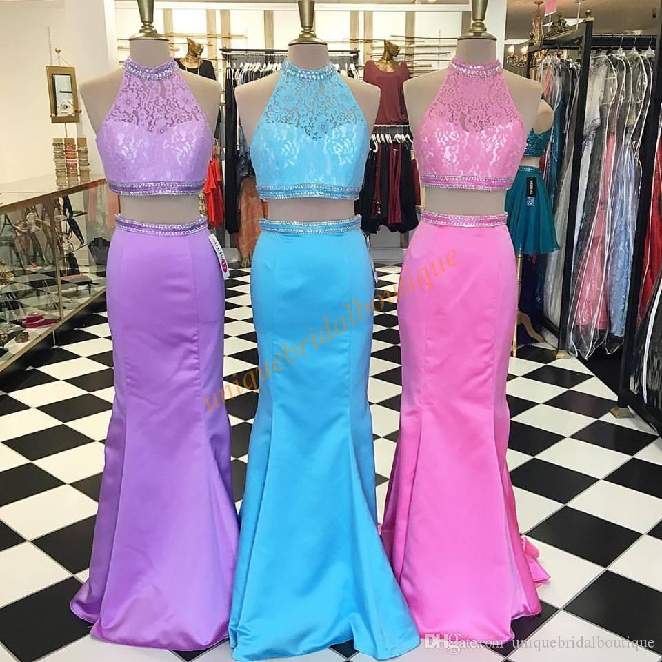 Großhandel Zwei Stück Mermaid Prom Dresses 2k17 Mit Perlen High Neck ...
