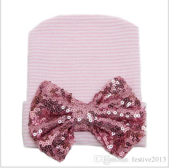 NEW Tire baby girl baby hat paragraph sequined bow stripes knit hat, pro-american Santa baby gifts