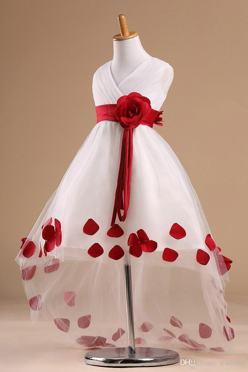 Hi Lo Flower Girl Dresses For Party And Wedding Front Short Back