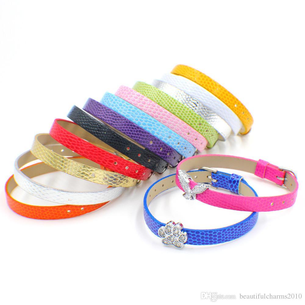 wholesale 100 strips 8mm wide / 21cm length PU Leather snake skin wristband bracelet fit for 8mm diy slide charms