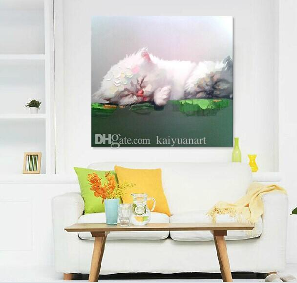 Hand Painted Cute Sleeping Cat Picture Wall Art on Canvas Decor Animal Poster Oil Painting for Home Wall in Living Room or Bedroom