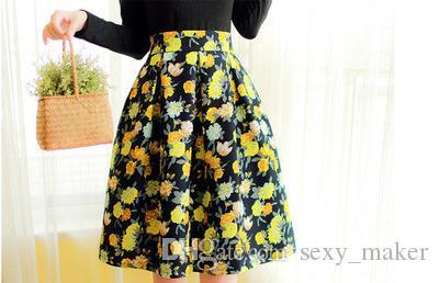 Плиссированные юбки-миди с высокой талией 4 цвета, женские с длинными рукавами, с цветочным принтом, зимние юбки Faldas largas Saia feminina