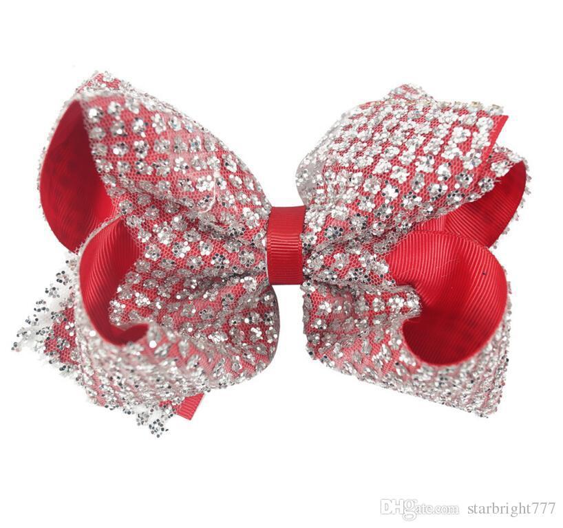 Бантом глава клип Рождество блестками резинкой дети головной убор 7 дюймов Хэллоуин Headflower конфеты цвет волос украшения
