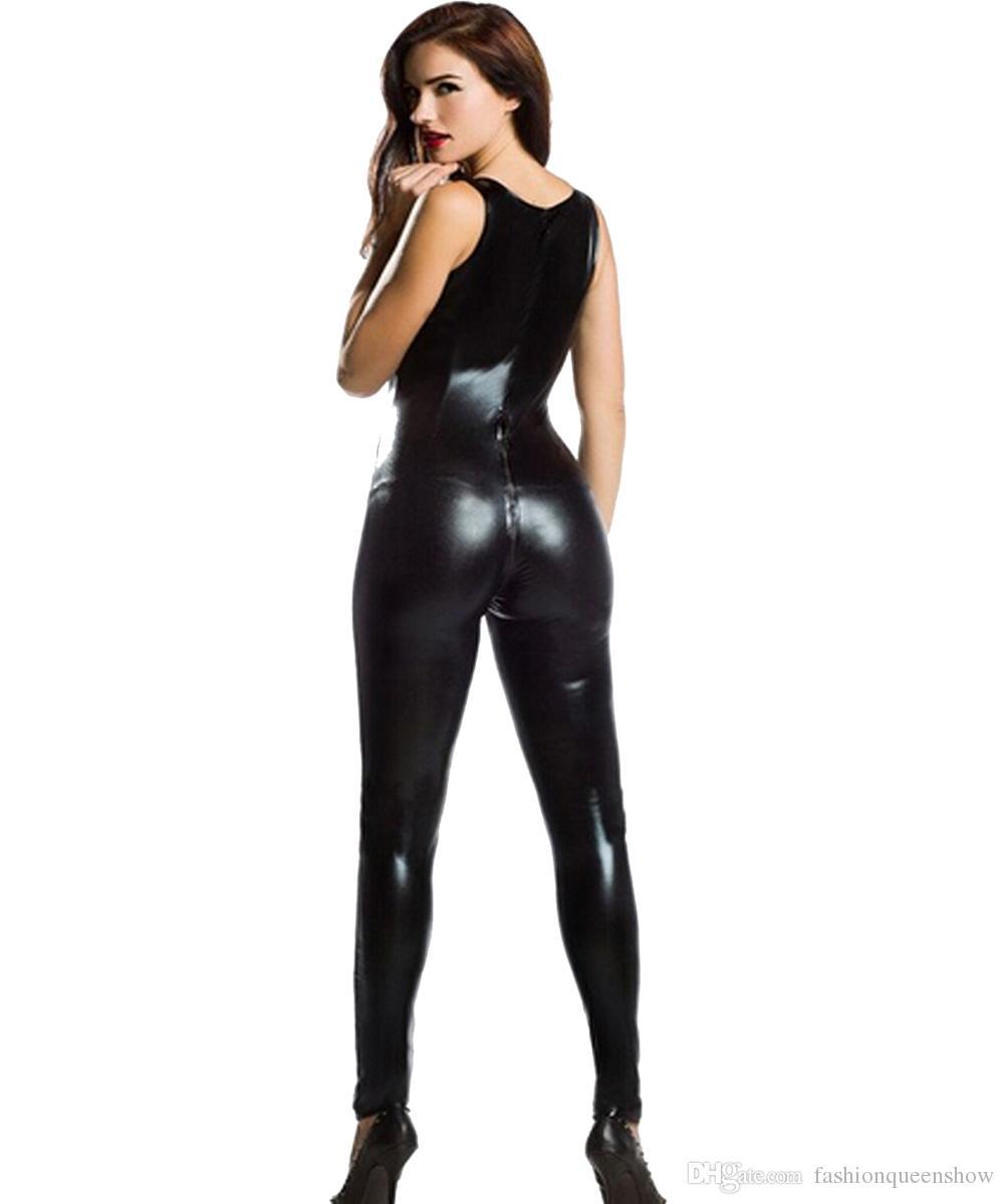 Top Quality Nero Catsuit Faux In Pelle Con Cerniera Anteriore Cavallo Senza Maniche Tuta Costume Cosplay Sexy Tuta