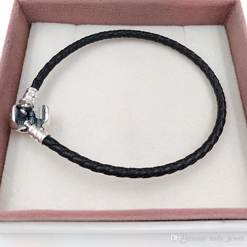 Autentico 925 momenti in argento sterling 925 Bracciale in pelle singolo - Black Adatto a Pandora Style Jewelry Charms Perline 590705CBK-S Hot