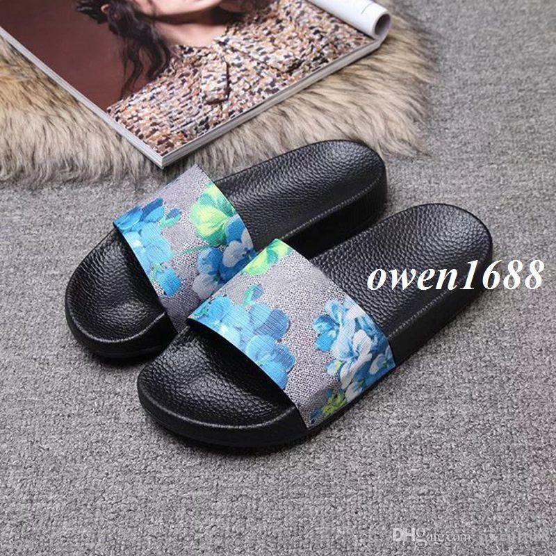 2018 Mens And Womens Fashion Flower Blooms Print Slide Sandals With Rubber  Sole Boys Girls Outdoor Beach Flat Flip Flops Birkenstock Sandals Shoes For  Women ... ca3dbb45c