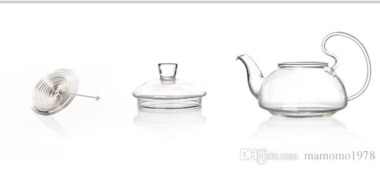 1200ml Heat Resistant With High Handle Flower Coffee Glass Tea Pot Blooming Chinese Glass Teapots J1011-4