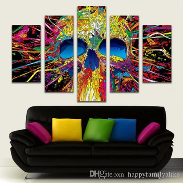 Hot Sale Canvas Painting Five Panels Abstract Art Human Skeleton Modern Paintings Wall Arts For Home Decoration