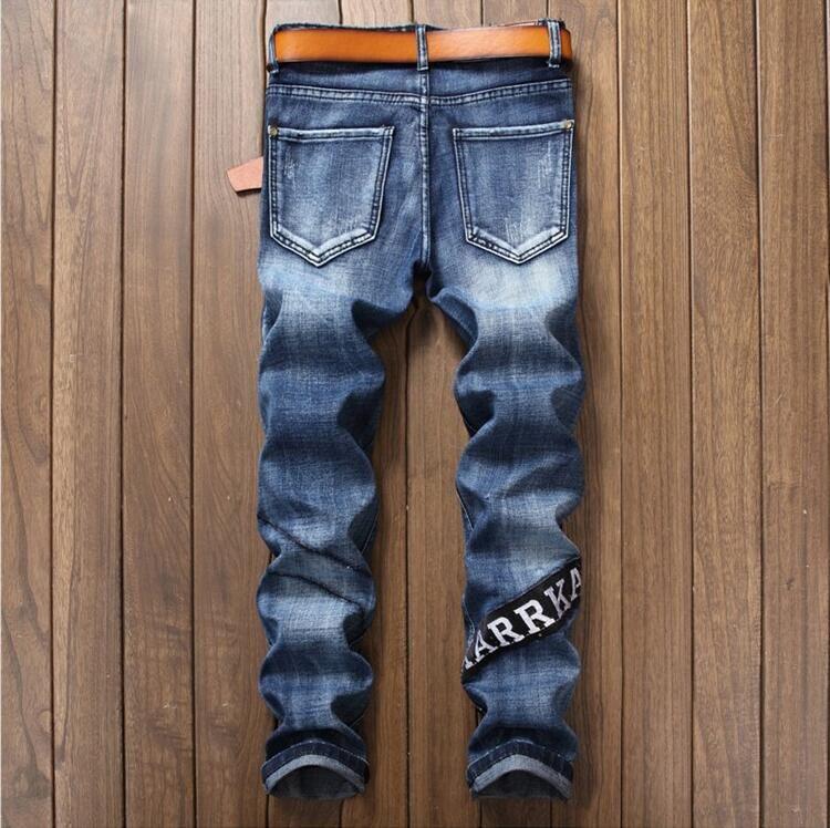 2017 Uomini Jeans Strappati Biker Hole Denim Patch Harem Straight Punk Rock Slim Fit Classic Hip Hop Blue Jeans For Men Pants