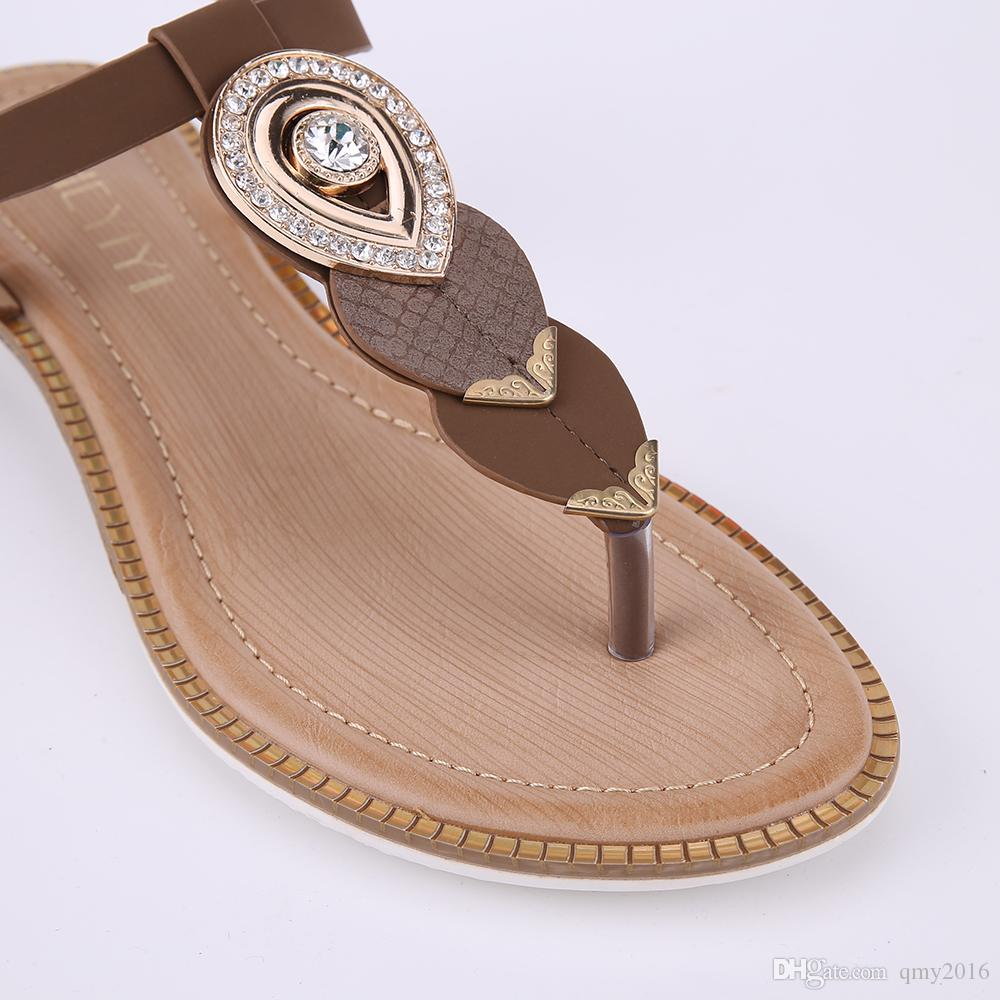 57f046d0d ... HEYIYI Brand Women s Sandals Brown Flat Thong Shoes Open Toes Ankle  Strap Buckle Diamond Summer PU ...