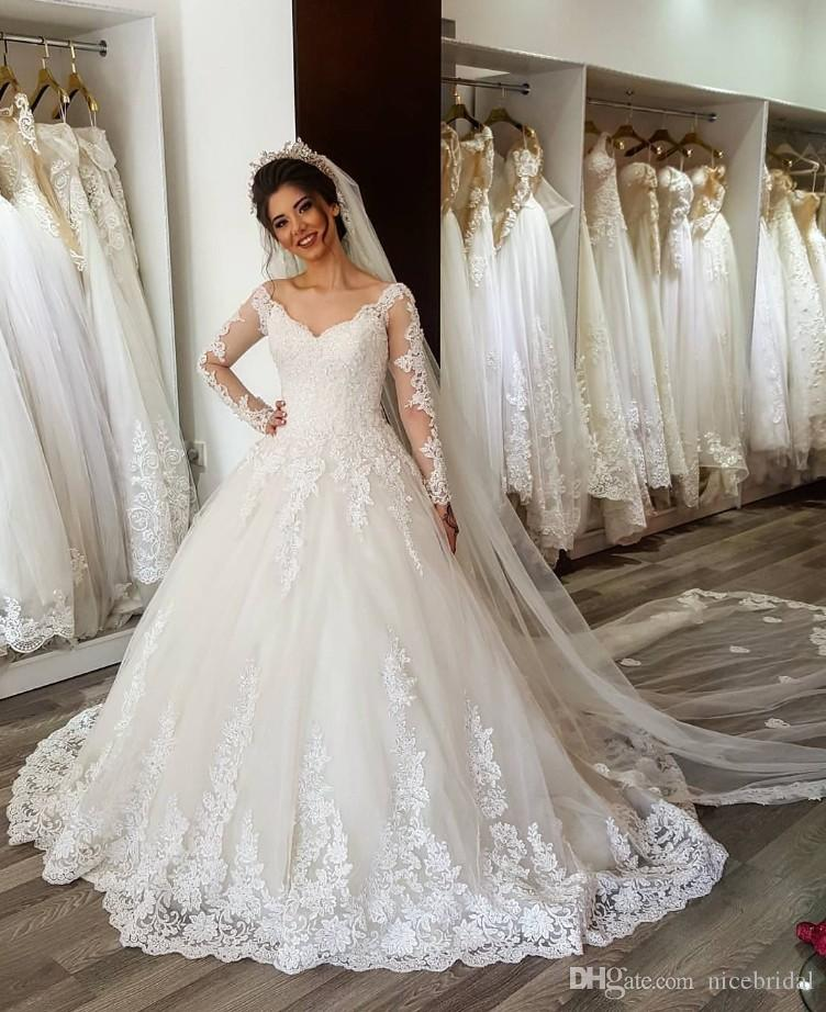 Long Sleeve Lace Ball Gowns Wedding Dresses For Women Tulle Lace
