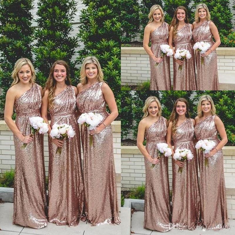2017 Sequins Long Bridesmaid Dresses Rose Gold One Shoulder Bling