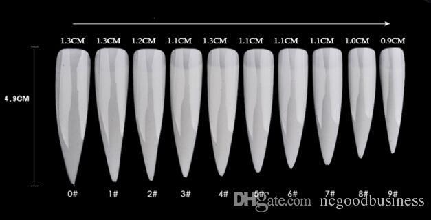 Long Sharp Stiletto False Acrylic Nail Art Tips Artificial Half Cover Fake Nails White/Natural/Transparent 3 Options