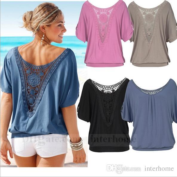 33bcf63e57d Tops Loose Blouse Lace Hollow Out Shirt Leisure Lady Vintage Tee Fashion  Collar Tank Summer Pullover Jumper Women Clothing Plus Size B700