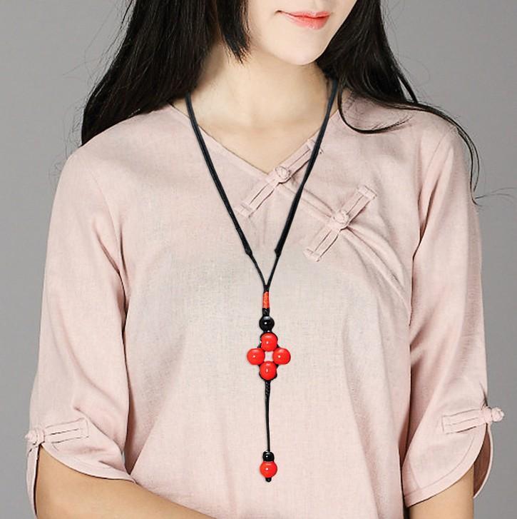 여자 보석 중국 바람 민속 스타일 수제 세라믹 롱 목걸이 스웨터 체인 펜던트 펜던트 쥬얼리 여성 의류 액세서리