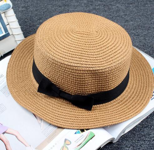 Fashion Womens Foldable Bucket Hat Summer Sun Beach Straw Hats with Bowtie Church Hat Accessories Beach Wide Brim Hats for Women