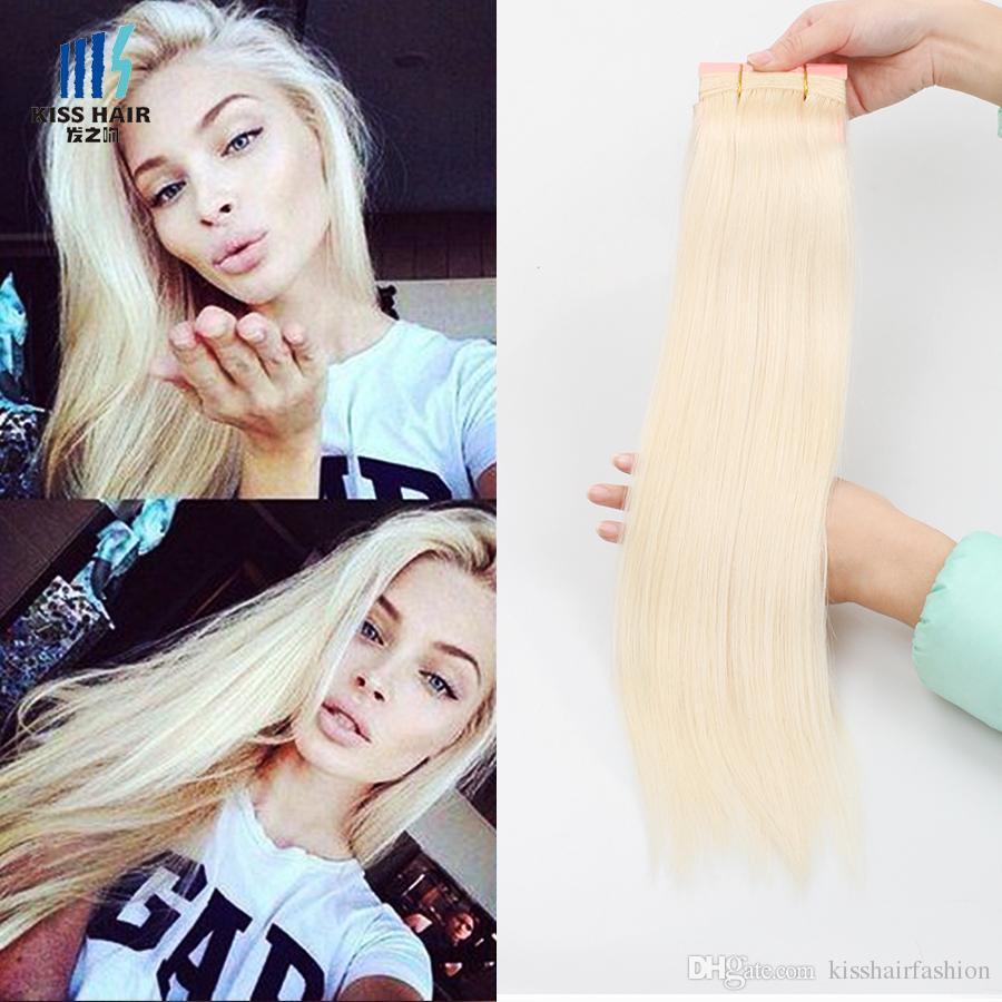 3 Bundles Color 613 Lightest Blonde Bleach Blonde Remy Hair