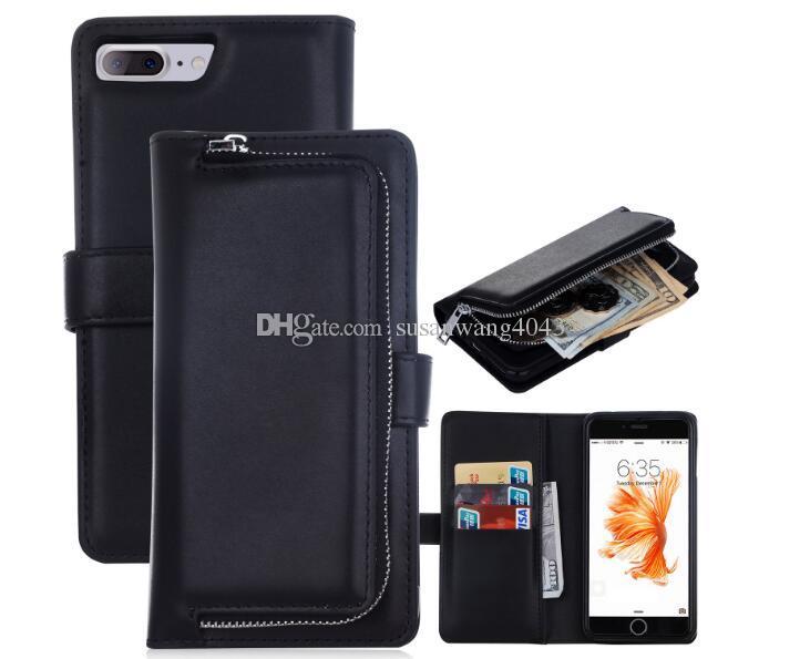 Luxuxmappentelefonkasten für iphone7 iphone 7 6 6s plus Galaxie s5 s7 lederner Beutelabdeckungsfall Reißverschlussbeutel 5 Farbe DHL geben GSZ288 frei