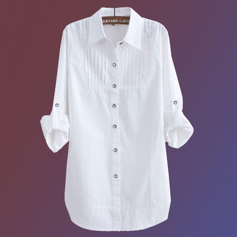 half off 1d993 a8403 Camicetta elegante Camicia bianca Donna Taglia S-3XL Camicie da ufficio da  donna Camicetta formale in cotone casual Moda Blusas Femininas JX12012