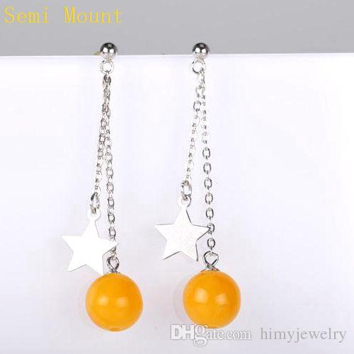 Fine Silver 925 Sterling Silver 6mm Pearl or Round Bead Semi Mount Women Earrings Stars