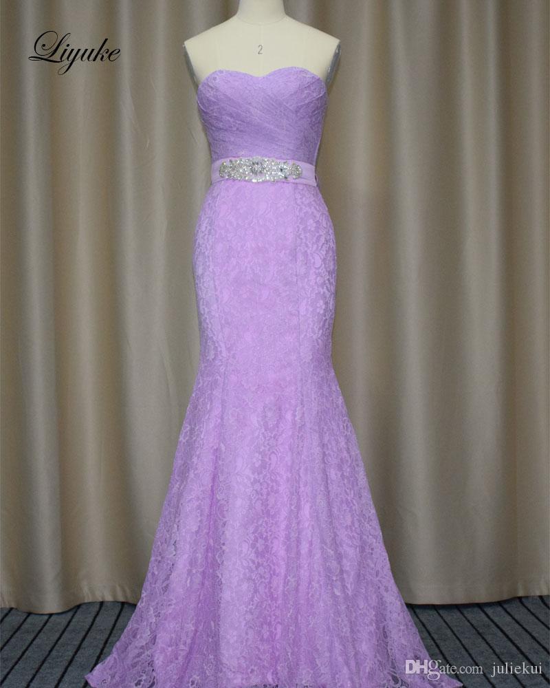 Compre Vestido De Dama De Honor De Encaje Largo Púrpura Claro 2017 ...