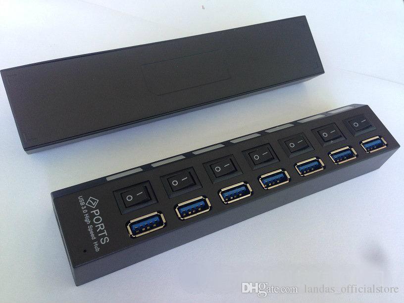 NEW USB HUB 3.0 Super Speed 5Gbps 7 Ports USB 3.0 HUB USB Splitter with On/Off Switch Platooninsert for Computer Peripherals