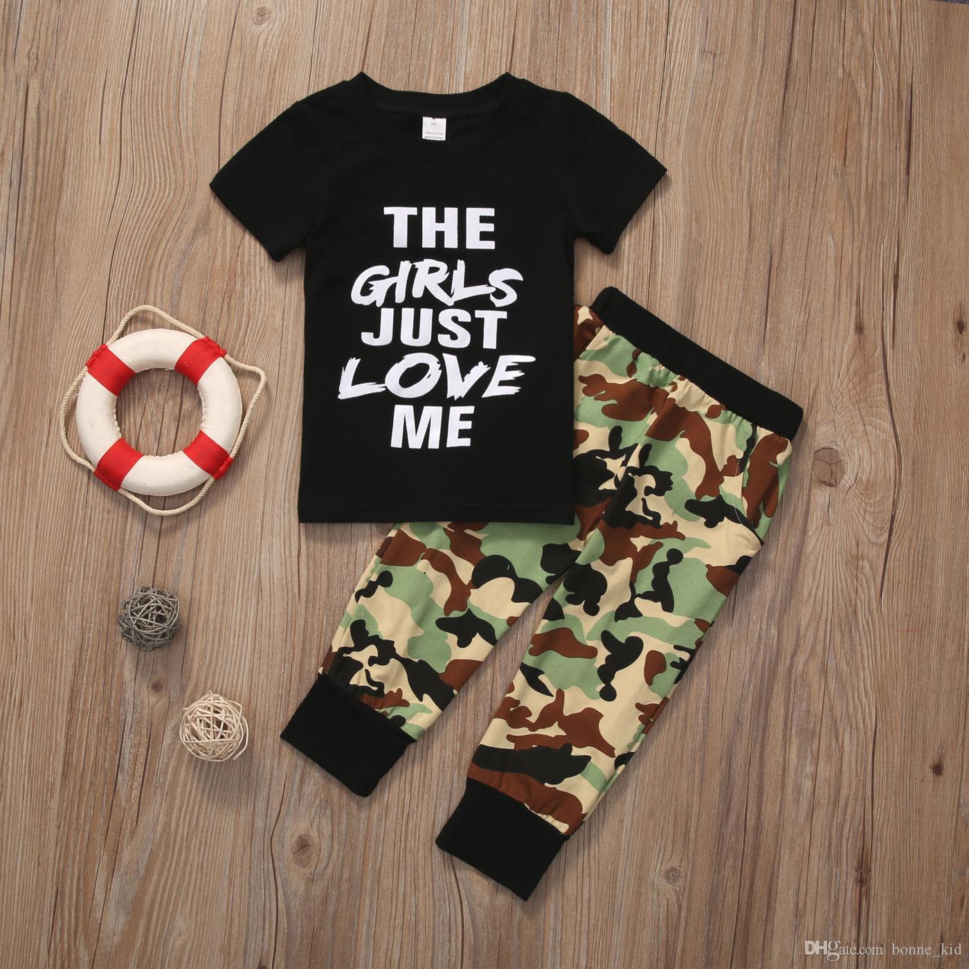2 unids Toddler Baby Boys Ropa Algodón T-shirt + Pantalones Camo Pantalones Trajes Cool Boy Set Wholesale Kid Niños Ropa Negro Tee Trajes