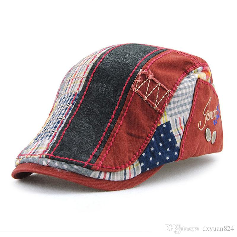 335d29addad31 2019 Embroidered Letter JAMONT Cotton Striped Patchwork Casual Beret Cap Men  Women Fashion Vintage Multicolor Driving Golf Cabbie Newsboy Hat From  Dxyuan824 ...