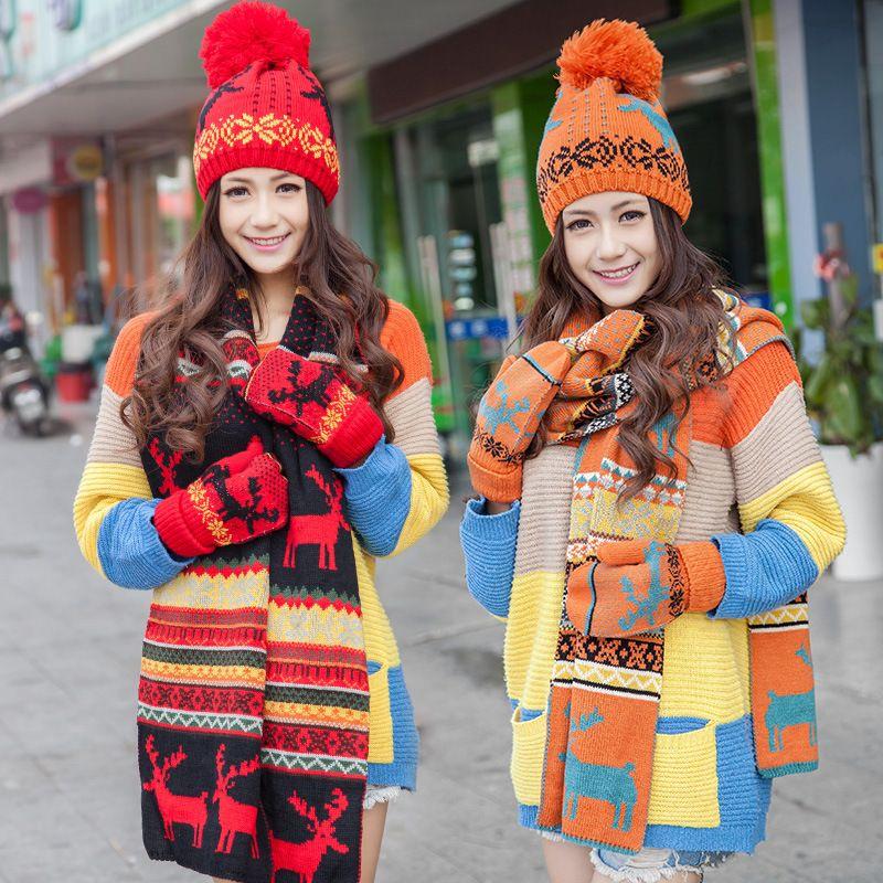 Stylish Snowflake Design Scarf Hat Women Female Glove + Hat +Scarf ... bbd2e75eb7e