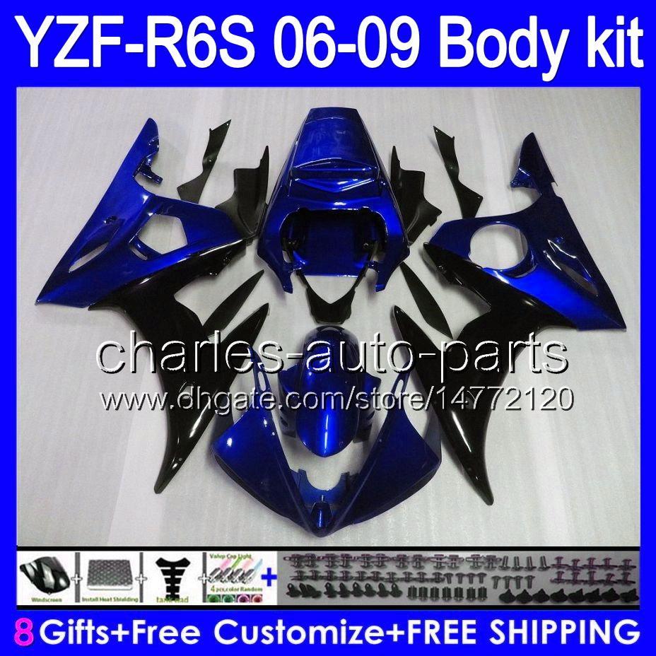 Factory bue 8gifts Body For YAMAHA YZF R6S 06 07 08 09 YZF-R6S 06-09 84HM2 YZF R 6S YZF600 YZFR6S 2006 2007 2008 2009 Fairing Kit Blue black