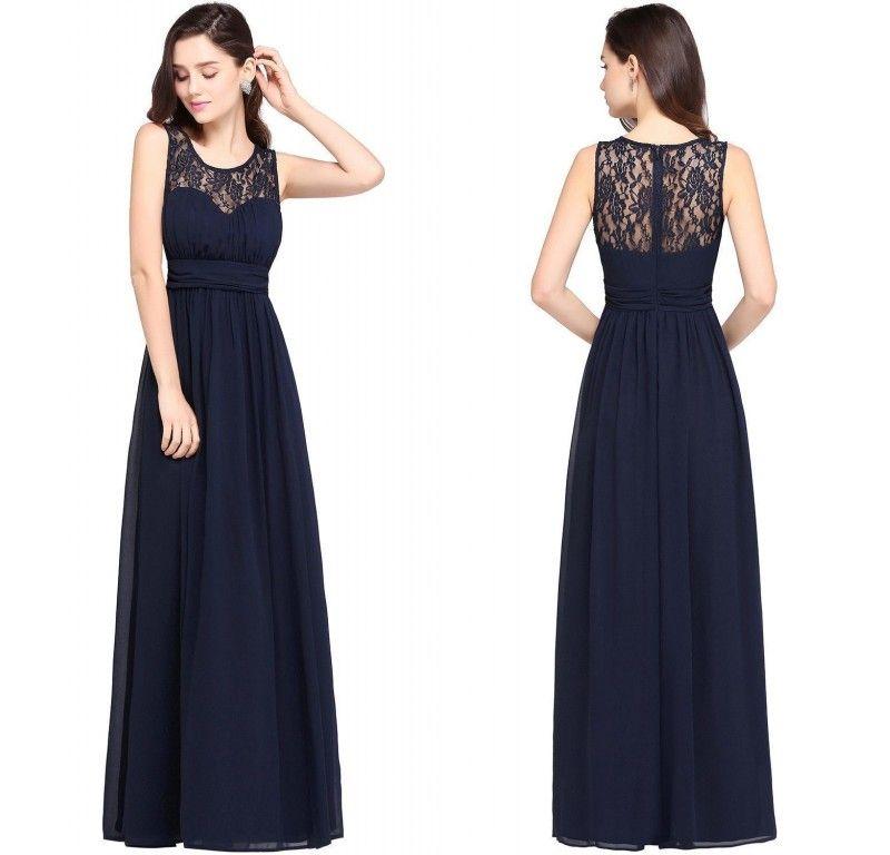 2017 New Designer Navy Blue Cheap Bridesmaid Dresses Lace Chiffon ...