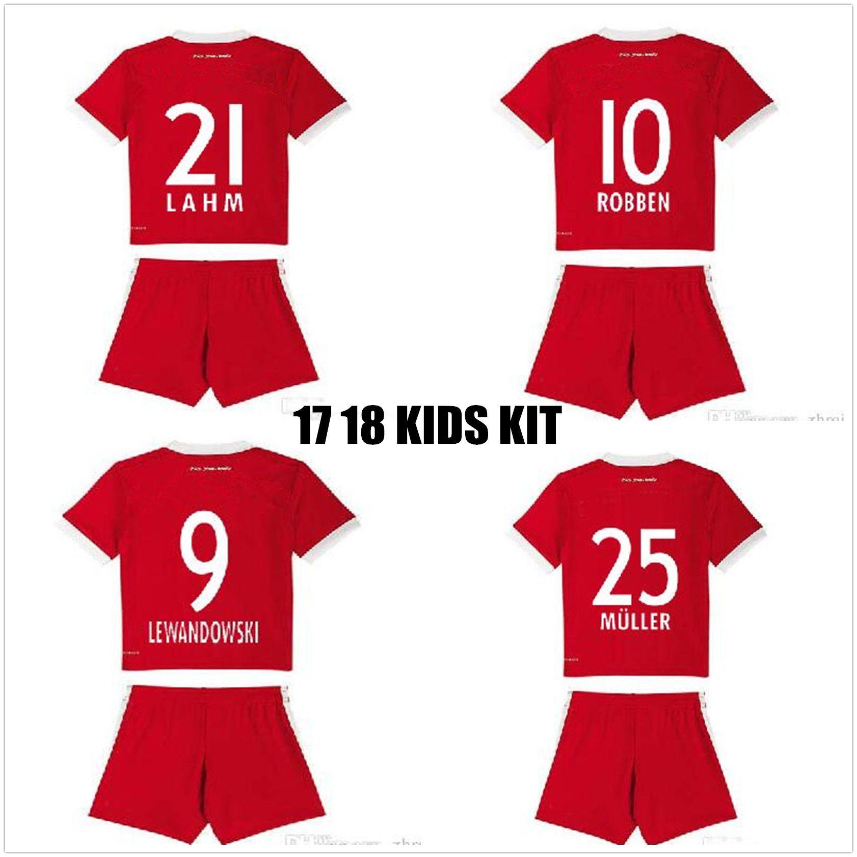 f530553ff 2017 2018 MULLER Kids Kits Soccer Jersey 17 18 LEWANDOWSKI Football Shirt  ROBBEN RIBERY Children Camiseta De Futbol KIMMICH Maillot De Foot Camisetas  De ...