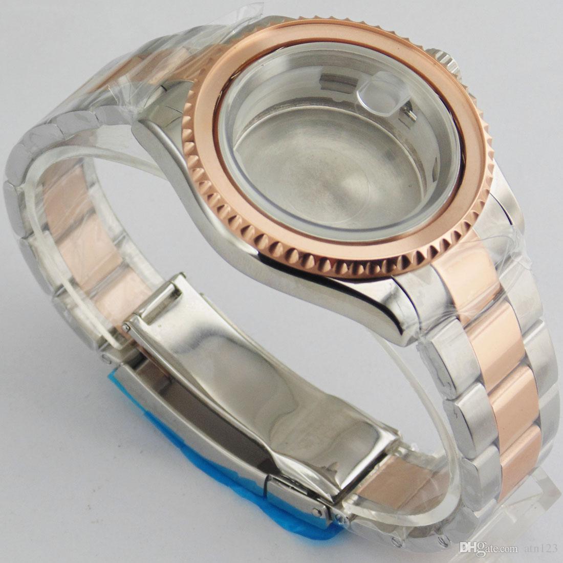 40mm Roségold Uhrengehäuse für ETA 2836 DG2813 / 3804 Miyota 82Series Hochwertiges Stanless Stahl Uhrengehäuse P563