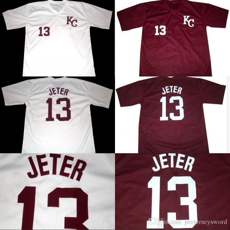the latest 4933d d2b3c #13 DEREK JETER KALAMAZOO HIGH SCHOOL JERSEY 100% Stitched Custom Derek  Jeter Retro Baseball Jerseys White Wine red Free Shipping