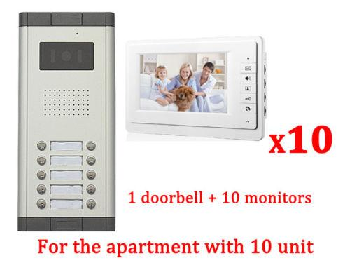 Apartment 10 Unit Intercom Entry System Wired Video Door Phone Audio