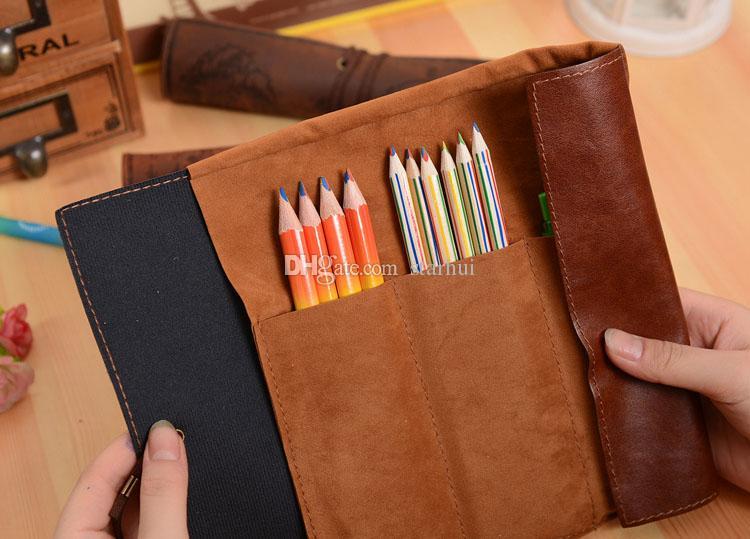 قلم رصاص وسائد هوائية خريطة الكنز القلم حقيبة العتيقة بحري مقلمة كبيرة السعة جلد قلم رصاص حقيبة لينة صناديق نساء رجال أطفال حقيبة WX-P01