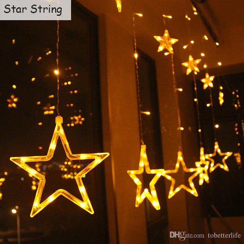 moon star led curtain string lights 110v 220v waterproof holiday christmas bedroom decoration lamp warm white rgb led light strings light string from