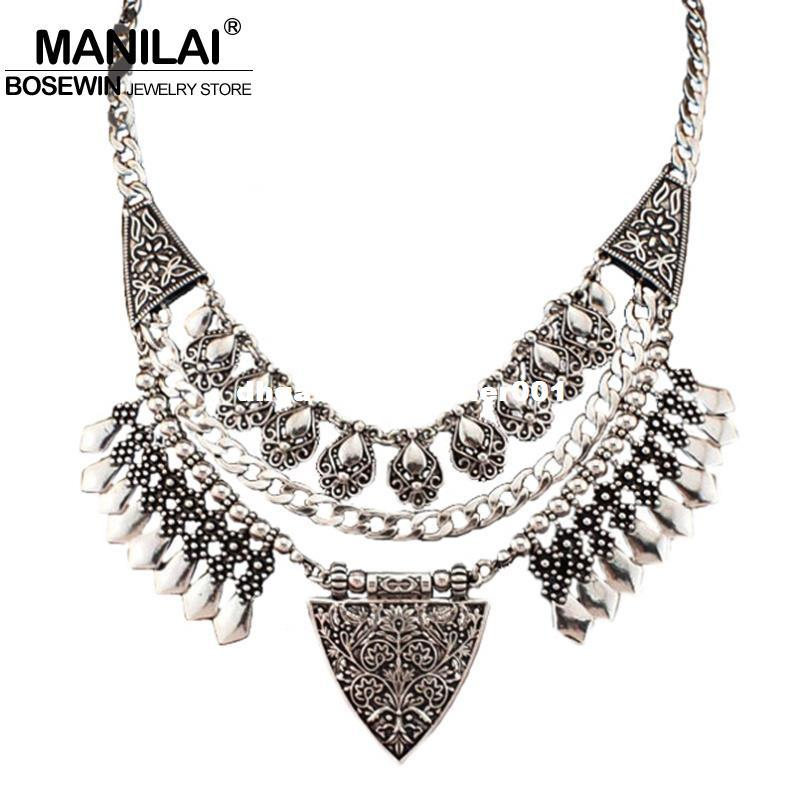 MANILAI Bohemia Design Fashion Necklaces For Women 2017 Vintage Carving Alloy Choker Statement Necklaces & Pendants Collares