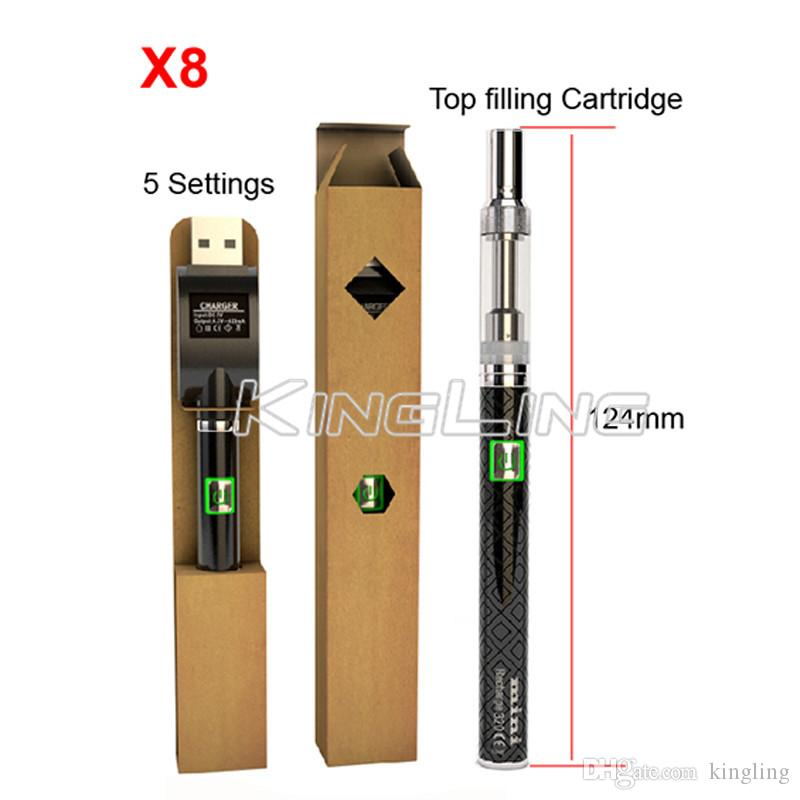 X8 Аккумулятор 320 мАч 2.6 В-3.5 В аккумуляторная керамическая катушка Vape Pen электронная сигарета 0,5 мл 1,0 мл керамический картридж бак