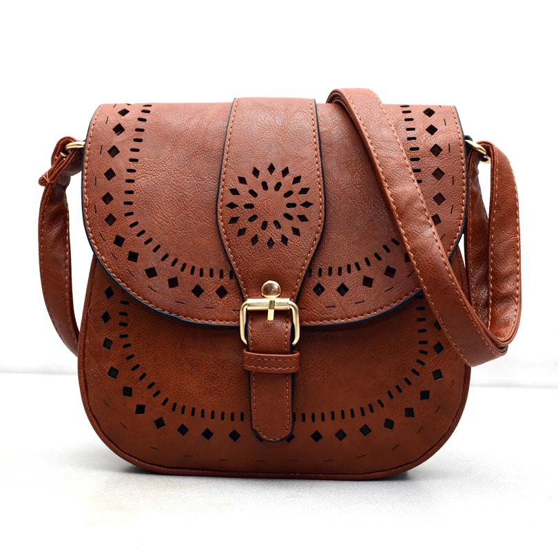 Wholesale- Small Casual Women Messenger Bags PU Hollow out Crossbody ... 288f16fc71