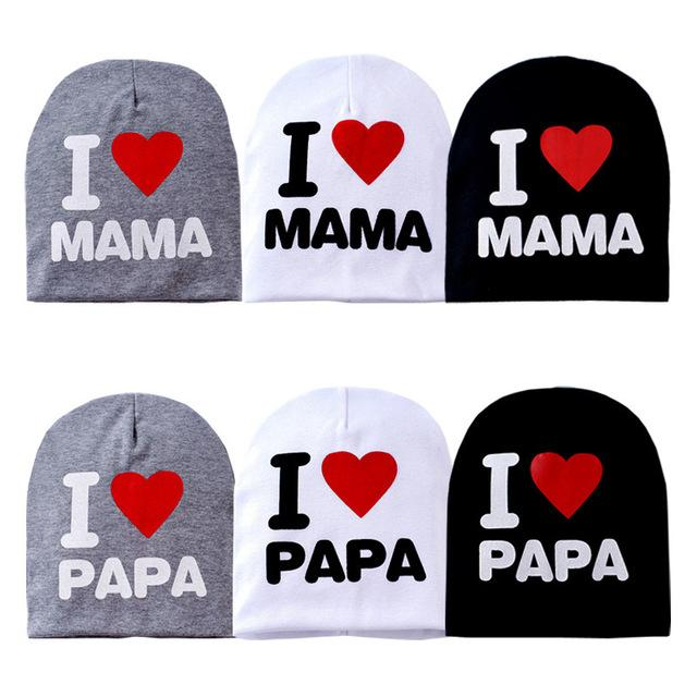 Spring Autumn Newborn Baby Boys Girls Hats Toddler Infant Kids I Love Papa Mama Printing Caps Children Candy Color Knitted Beanie Cap